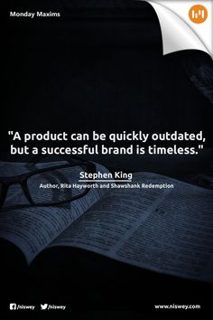 """""""A product can be quickly outdated, but a successful brand is timeless."""" #Branding #Product #Brand #MondayMaxims"""