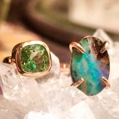 #Opal was once considered a talisman that allowed its wearer to recognize both his or her enemies & friends. Enemies caused the opal to pale, while friends would turn it red with pleasure. Paired here with #tourmaline, this #gold ring is the ultimate BS meter. #rockgeek #12wooster