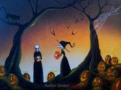 original halloween folk art witch gothic pumpkin decoration painting