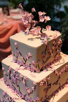 japanese cherry blossom wedding cakes | Cherry Blossom Wedding Cake Pretty Cakes, Cute Cakes, Beautiful Cakes, Amazing Cakes, Cherry Blossom Theme, Cherry Blossom Wedding, Cherry Blossoms, Wedding Wallpaper, Fancy Cakes