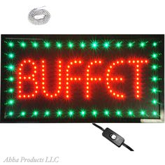 """Large 24x13"""" Bright Buffet Chinese Restaurant Food LED Open Sign Animated neon #AhhaProducts"""