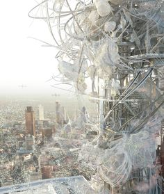 Synth[e]tech[e]cology - Main view of the tower with dust cultivation, by Changyeob Lee, RCA