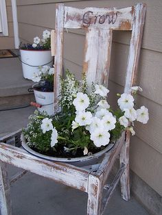 """old chair....love the painted sign """"grow"""" - Click image to find more Gardening Pinterest pins"""
