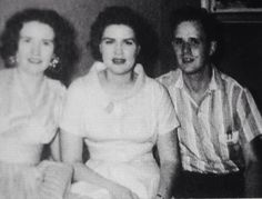 Patsy Cline with fan club president Treva Miller and her future husband Bruce.