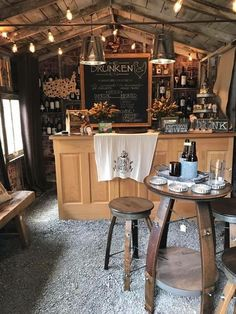 Totally OBSESSED! this is a backyard shed (doesn't even have a floor!) turned into a bar, or as I call it... Total mom cave that I spend way too much time in!!: