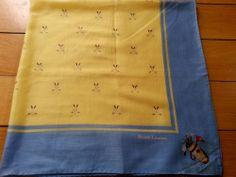 """Vintage Ralph Lauren 100% Cotton Golf Scarf 26"""" x 26"""" Made in Japan"""