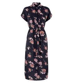 Black Floral Print Midi Shirt Dress | New Look