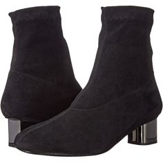 Robert Clergerie Pili (Black Suede Stretch) Women's Boots ($338) ❤ liked on Polyvore featuring shoes, boots, black, black boots, stretch ankle boots, slip on boots, short suede boots and black stretch boots