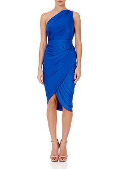 KAYDEN - Sax Blue Jersey Drape and Wrap One Shoulder Dress