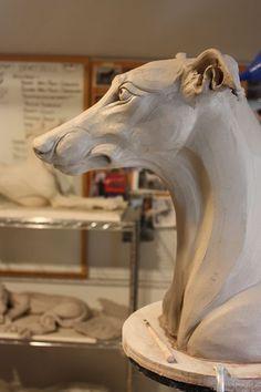 Sculpture, Greyhounds and Art Making in the North Dakota. Ceramic Animals, Clay Animals, Ceramic Art, Dog Sculpture, Animal Sculptures, Clay Sculptures, Greyhound Kunst, Dog Anatomy, Grey Hound Dog