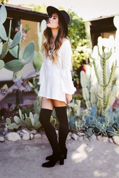 #boho style #outfit white dress and over the knee socks