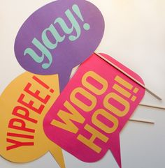 Ready-made photo booth speech bubbles
