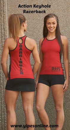 Yipes Action Keyhole Racerback. Perfect for camp or practice. A great look for cheer, dance, or tennis!