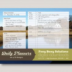 Great for planning out your daily #schedule and to-do list, this set of #printable daily #planners feature fields for the date, your daily goals, your to-do list, and a 25 line daily schedule for you to plan out your day.   This set of planners features 10 different background designs - all of which are photographs that I've taken and edited in Photoshop to give them an illustrated feel.   Stop by the shop to check them all out! FoxyBoxyDigital.etsy.com  #FoxyBoxySolutions #instantdownload