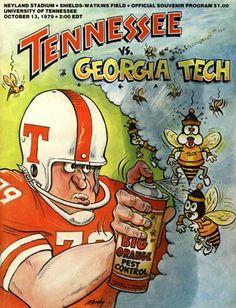 Tennessee Volunteers Football, Tennessee Football, Football Art, Football Program, Vintage Football, College Football, Football Helmets, Football Stuff, Tennessee Vs Georgia