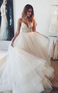 beach wedding dresses,tulle wedding dresses,v neck wedding dresses,beaded wedding dresss,ivory bridal gowns @simpledress2480