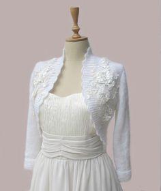 Knitted Bridal Shrug  Bolero White with by crochetbutterfly,