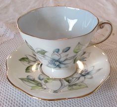 """Foley Tea Cup and Saucer, """"Erica"""" Pattern, Blue Flower, Vintage Bone China"""