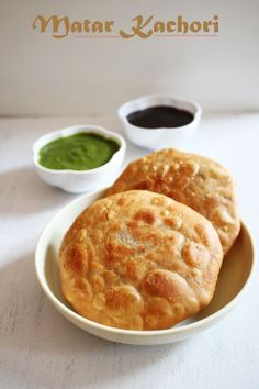 Matar Kachori Recipe - Green peas stuffed flat bread Makes 6 // Whole wheat flour (chapatti atta) – 1 cup, can use all purpose flour or combo Oil or ghee – 1 T Salt – to taste Warm water – ¼ cup + 1 T // Green peas – 1 cup, fresh or frozen Oil – 1 T + more for frying Cumin seeds – ½ t Fennel seeds – ½ t Ginger – 1 t, grated Green chilies – 1, chopped finely Red chili powder – 1 t Coriander powder – ½ t Aamchur powder – 1 t Chaat masala – ½ t Salt – to taste Besan (chickpea flour) – 1 T