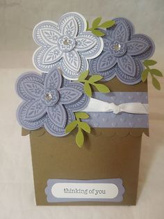 """Stampin Up! """"Thinking of you"""" handmade Flower Pot Card"""