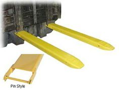 """Fork Extensions provide the extra support needed to lift long or large objects with a fork truck. Welded steel construction with cast steel tips. Steel retaining strap (loop style*) prevents fork extensions from sliding off forks during use. Powder coat yellow finish. OSHA regulations require that extensions are no more than 150% of the existing fork length. (e.g. 48"""" existing forks, the fork extension should not exceed 72"""")."""