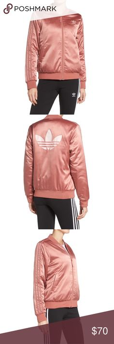 Adidas Original trefoil satin jacket NWT. Brand new in a dusty pink color. Super chic. I only have one small and medium left. This is sold out almost everywhere! Adidas Jackets & Coats