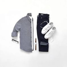 "CAPSULE WARDROBE (@capsulewardrobemen) on Instagram: ""Grey + White + Black = Always A Good Idea. Follow @capsulewardrobemen . . . . #mensfashion…"""