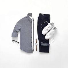 "CAPSULE WARDROBE (@capsulewardrobemen) on Instagram: ""Grey + White + Black = Always A Good Idea. Follow @capsulewardrobemen . . . . #mensfashion…"""