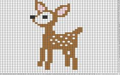 Tricksy Knitter Charts: Bambi by Granny D Small Cross Stitch, Cross Stitch Animals, Cross Stitch Charts, Cross Stitch Designs, Cross Stitch Patterns, Knitting Charts, Baby Knitting Patterns, Knitting Stitches, Cross Stitching