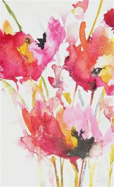 Buy Original Art by Karin Johannesson | watercolor painting | Pink ...