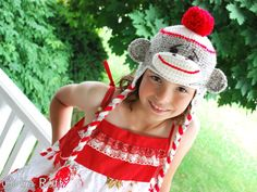 Handmade Crochet Happy Sock Monkey Hat with Red Pom Pom
