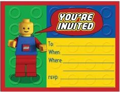 uitnodiging voor lego feestje