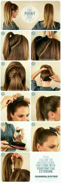 "Sleek high ""double"" pony tail tip - I use this technic always 'cause I have so much hair and it's heavy to wear on normal pony tail."
