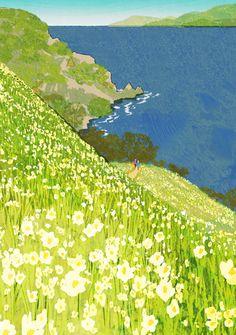 Tatsuro Kiuchi, illustration for JR Kyushu Please January issue. Art And Illustration, Illustrations And Posters, Painting Inspiration, Art Inspo, Art Japonais, Aesthetic Art, Landscape Art, Japanese Art, Cool Art