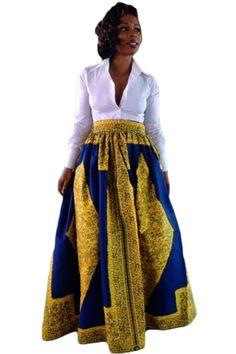 Yellow-Blue African Print Maxi Skirt