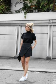 all black outfit with white sneakers
