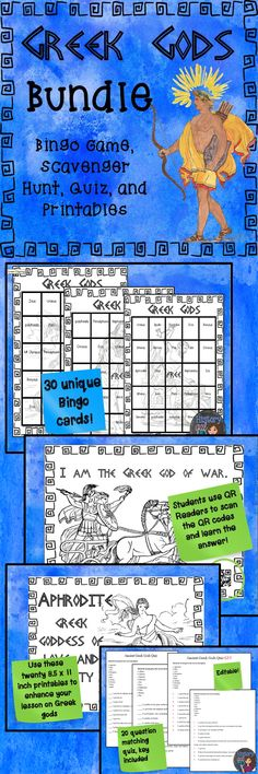 $ This bundle includes all of my Greek Gods products: Greek Gods Scavenger Hunt {With and Without QR Codes} Printable Greek Gods Greek Gods Bingo Greek Gods Quiz {Editable!}
