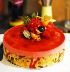 raspberry mousse cake with passionfruit curd. an absolute mission but totally worth it for a big occasion @ eatthatyellowsnow.wordpress.com