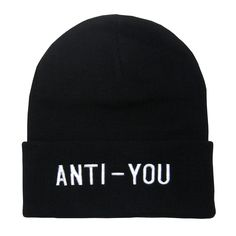 "Accept no imitations! This is the authentic No Fun signature ""Anti-You"" beanie. Embroidery in white on black."