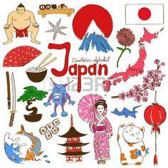 Fun collection croquis coloré d'icônes Japon, pays alphabet