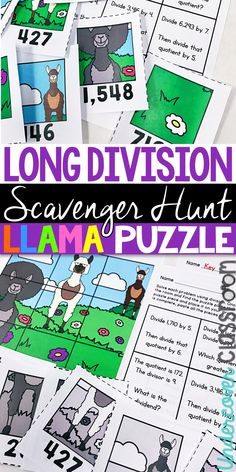 Long division scavenger hunt activity. Long division enrichment for upper elementary students. Practice division with 4 digit dividend and 1 digit divisor. Includes remainders and no remainders. Students search around the room for puzzle pieces to make a llama puzzle. Long Division Activities, Enrichment Activities, Fourth Grade Math, Third Grade, Upper Elementary, Elementary Education, Teaching Tips, Teaching Math, Center Ideas