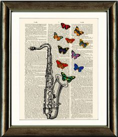 Items similar to Vintage Gramaphone with Butterflies - vintage image printed on a late Dictionary page Buy 3 get 1 FREE on Etsy Book Page Art, Old Book Pages, Old Books, Antique Books, Vintage Drawing, Vintage Images, Unique Art, Butterflies, Art Pieces