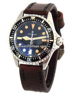 Geneva Handmade Vintage Style Ammo Leather Watchstrap For Steinhart Watches