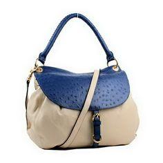 246d2b7ab373 miu miu Hobo Bag Ostrich Veins RR1751 Blue Replica Handbags