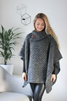 Cardigans – Knitted Wool Poncho Shawl. – a unique product by SundayCreations on DaWanda