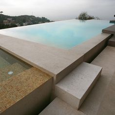 Straight lines and reflection! SOLI New Wave Basalt Tile Swimming Pool Water, Swimming Pool Designs, Outdoor Swimming Pool, Modern Landscaping, Outdoor Landscaping, Spas, Pool Water Features, Modern Pools, Beautiful Pools
