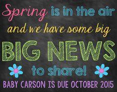 Spring Chalkboard Pregnancy Announcement Pregnancy Reveal Spring Announcement Spring Pregnancy Flower