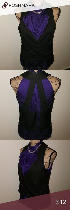 Sleeveless Blouse Purple blouse, zipper on left side, a chocker tie. Used  in very good condition. Boutique 9 Tops Blouses