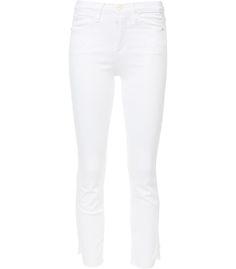 Frame Denim High Waisted Straight Denim Jeans - Asymmetrical Hem with Frayed Edges Jeans Frayed Hem Jeans, Denim Jeans, White Denim Shorts, White Jeans, Designer Jeans For Women, Designer Clothing, Frame Denim, High Waisted Shorts, Denim Fashion