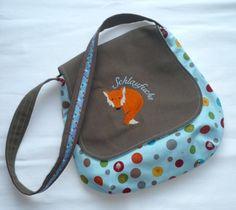 Umhängetaschen - Kindergartentasche Fuchs Kindertasche hellblau - ein Designerstück von paulinaskleinewelt bei DaWanda